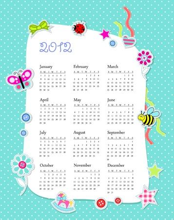 calendar 2012 in boy scrapbook style Stock Photo