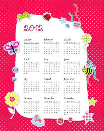 calendar 2012 in girl scrapbook style