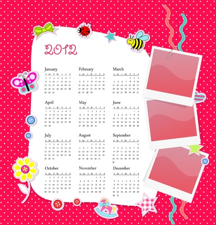 calendar 2012 in girl scrapbook style Stock Photo - 11091761