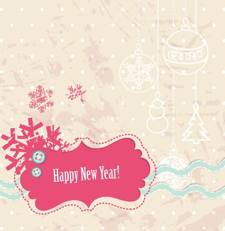 Vector scrapbook New Year card with snowflakes Illustration