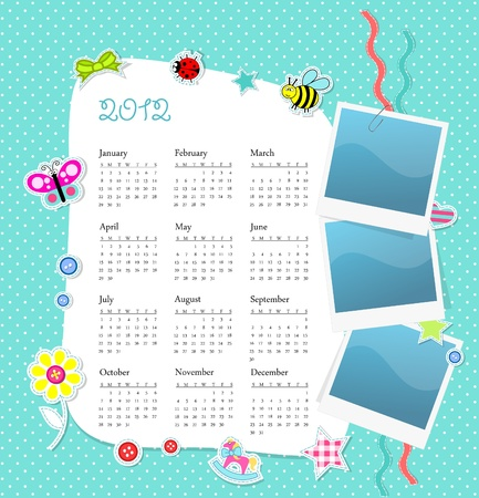 Vector calendar 2012 in boy scrapbook style blue dots Vector