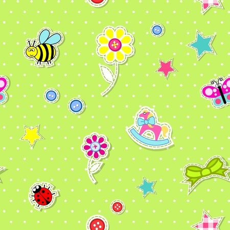 toys pattern: Vector seamless background with baby elements green Illustration