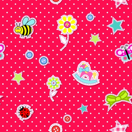 Vector seamless background with baby elements pink