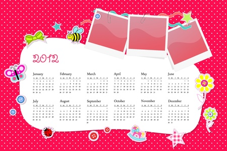 Vector calendar 2012 in girl scrapbook style pink Vector