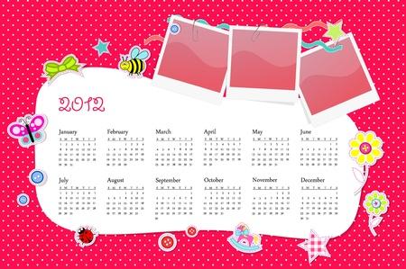 Vector calendar 2012 in girl scrapbook style pink