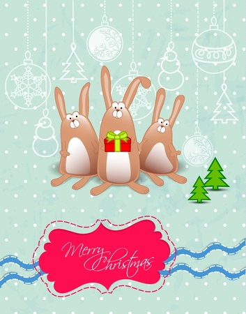 Vector Merry Christmas card with rabbits text frame