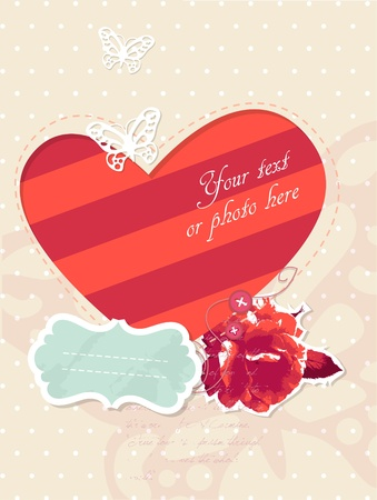 romantic card with frame and photo Vector