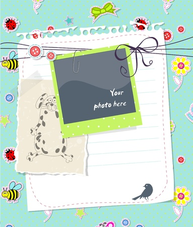 baby scrapbook: Baby Scrapbook-Karte mit Fotorahmen Lizenzfreie Bilder