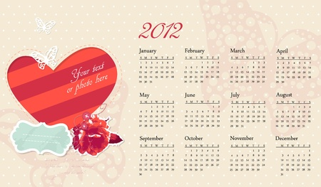 romantic calendar with frame and photo Vector