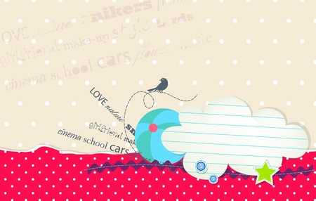card with bubble cloud for text and ball Illustration