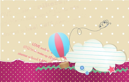 card with bubble cloud for text and balloon Illustration