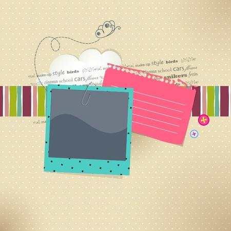 ferraille: carte avec place pour photo et texte Illustration