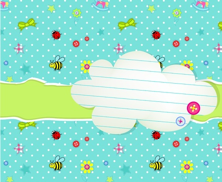 Baby card with cloud tag for invitation Stock Vector - 12486051