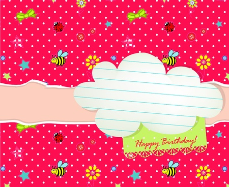 Baby Happy Birthday card with cloud tag Vector