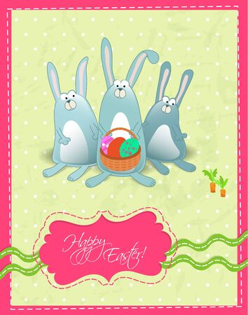 Happy Easter postcard with rabbits and basket