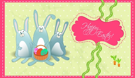 Happy Easter postcard with rabbits gorizontal Vector