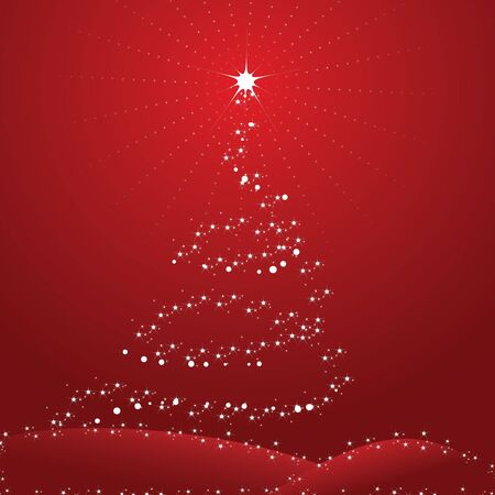 Christmas background with christmas tree and snowflakes
