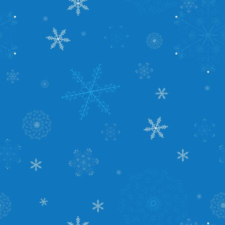 Seamless pattern with snowflakes on blue background Stock Photo