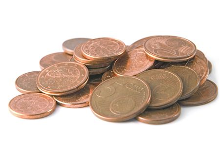Pile of coins: 1,2 and 5 euro cents - isolated on white