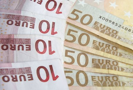 Pile of euro notes - ten and fifty euro Stock Photo