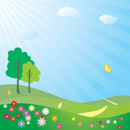 Spring field Stock Vector - 3851345