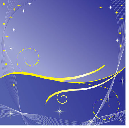 Blue christmas background with golden waves