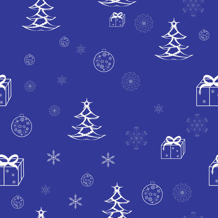 Blue christmas seamless pattern