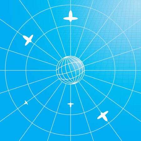 Concept of traveling - globe with planes Illustration
