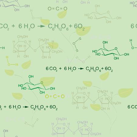 Sin fisuras vector patrón de la fotosíntesis con la ecuación Ilustración de vector