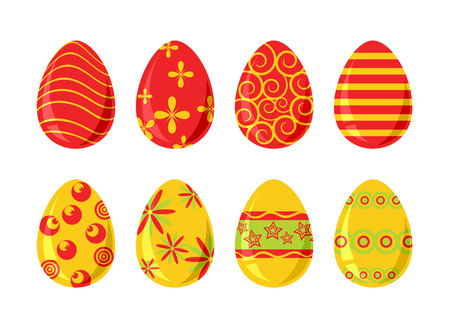 Set of eight colored easter eggs