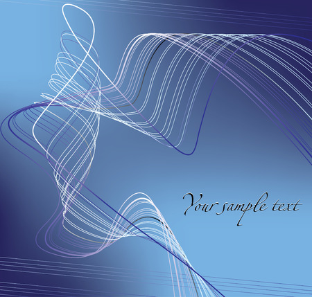 Blue abstract background with light waves Illustration