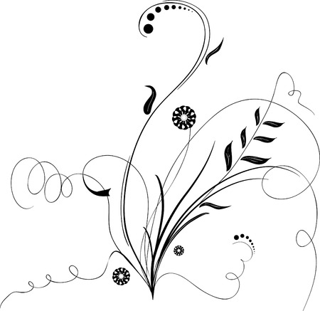 Black floral ornament with swirls and flowers