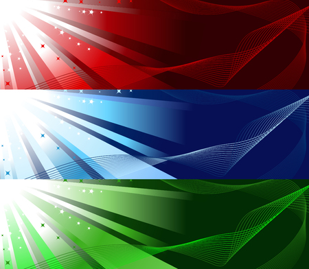 Set of three colourful banners - red, grenn and blue Vector