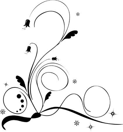 Vector illustration of a black and white floral pattern Illustration