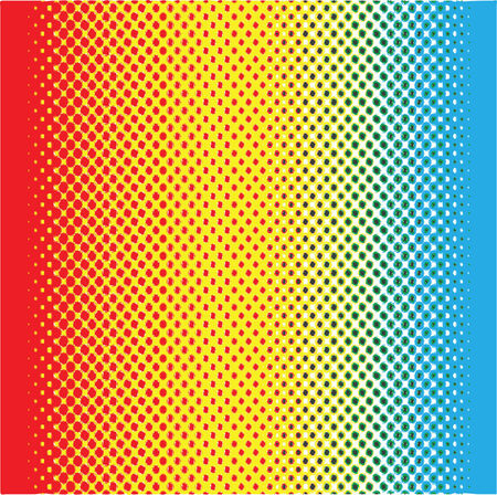 Vector illustration of a simple halftone gradient red-yellow-blue