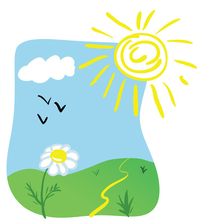 Cartoon illustration of a plant under sun