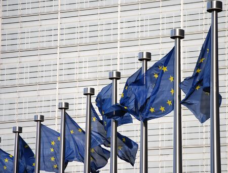 Flags of European Union in front of European Commission  Stock Photo