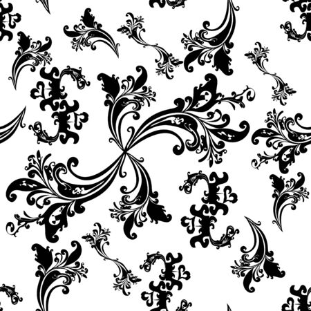 Black floral seamless pattern. Tile for endless background Illustration