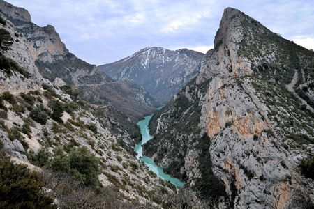 View on Gorges du Verdon in a cloudy day. Provence, Southern France