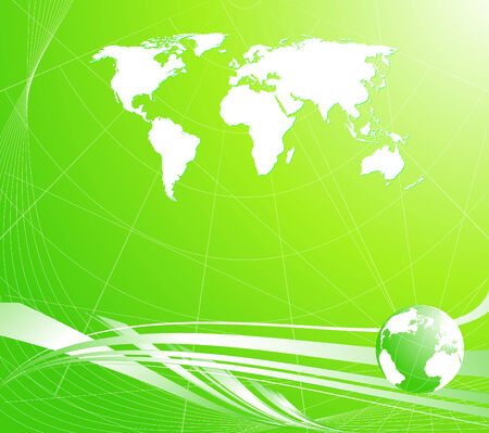 Vector illustration of a light green abstract background with a globe and map of the world