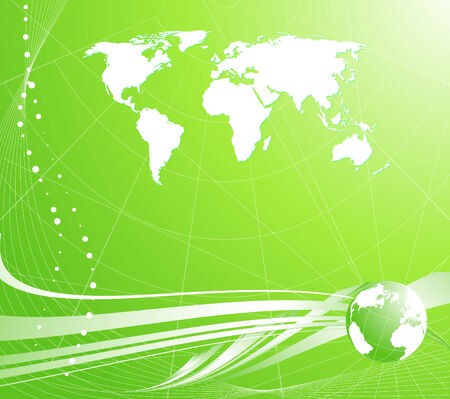 Abstract light green background with globe and map of the world Vector