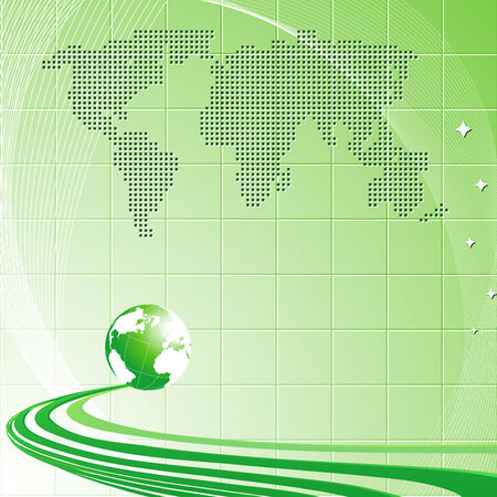 Modern light green background with globe and map of the world