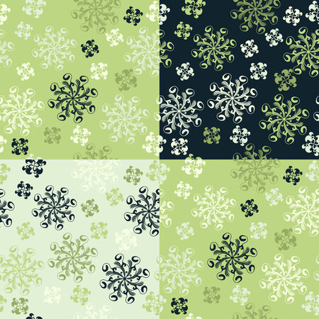Set of four abstract floral seamless patterns Vector