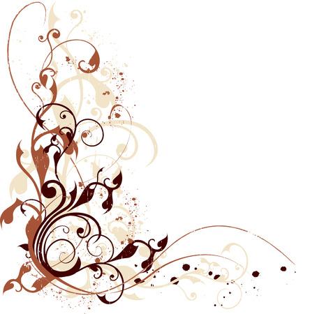 Grunge floral composition in warm colors Illustration