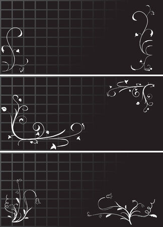 Set of three black floral patterns for design