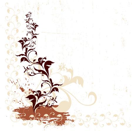 Grunge ornate red floral background