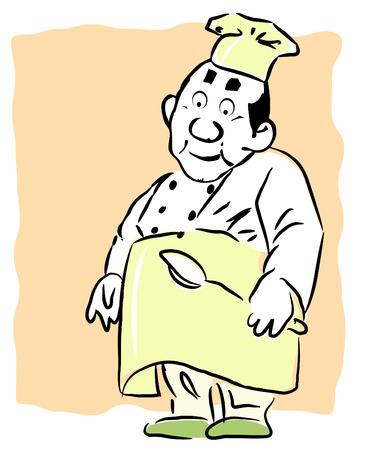 Una ilustraci�n de dibujos animados la celebraci�n de una cuchara de cocina en sus manos Foto de archivo - 4361678