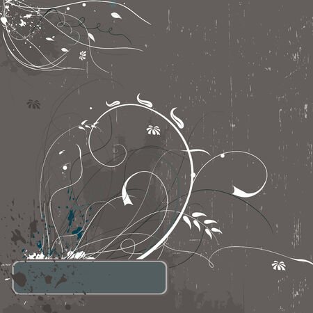 Beige grunge floral elegant background with copy space Illustration