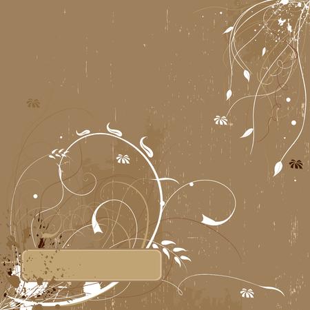 Grunge beige elegant floral background Stock Vector - 4361682