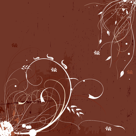 Grunge floral elegant background in brown tones Illustration